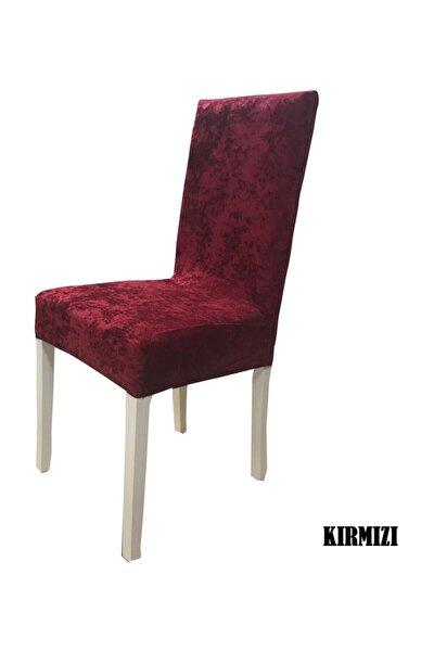 Ipek Kadife Likralı Sandalye Kılıfı  6 Lı Paket Kırmızı