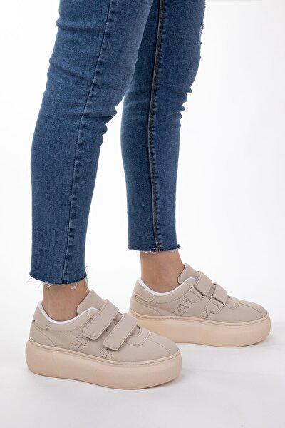 Kadın Bej Cilt Deri Cırt Cırtlı Sneaker Spor Ayakkabı Yürüyüş Ayakkabısı Yüksek Tabanlı Bantlı