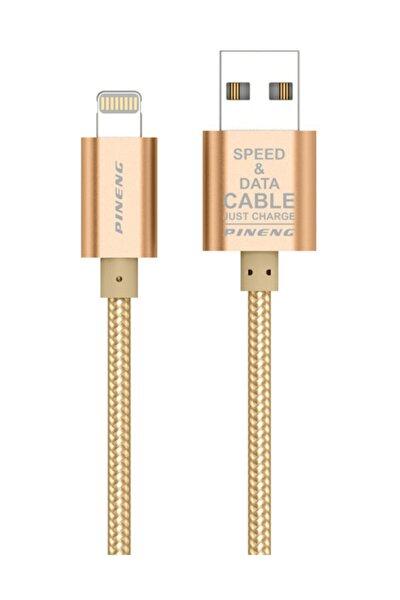 PN-305 Yüksek Hızlı iPhone Lightning 1 Metre Örgülü Altın Data Sarj Kablosu