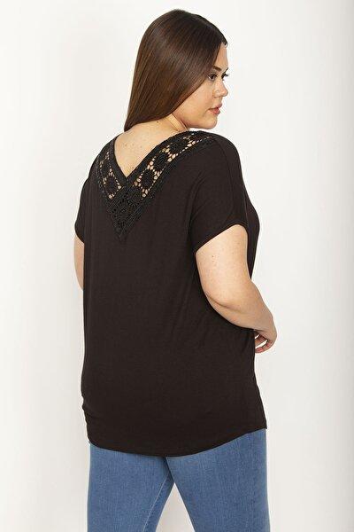 Kadın Siyah Dantel Detaylı Viskon Bluz 65N26415