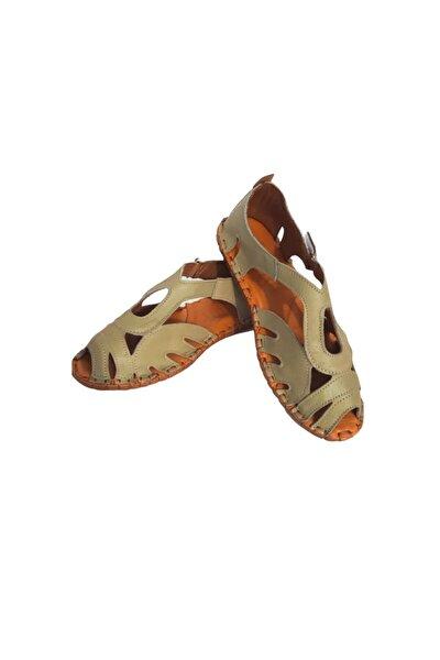 Hakiki Deri Sandalet Haki Renk