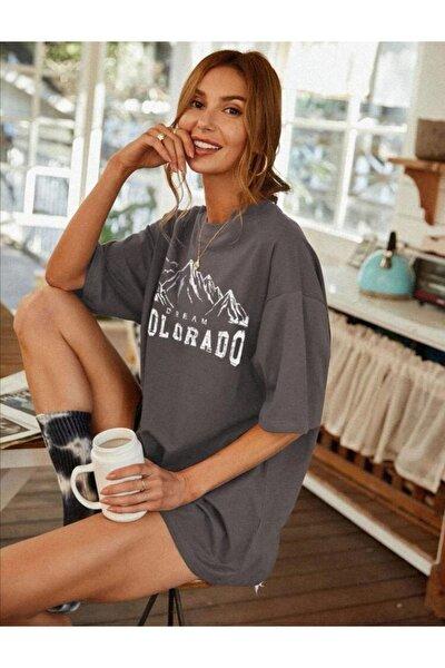 Kadın Antrasit Colorado Baskılı Oversize Tshirt