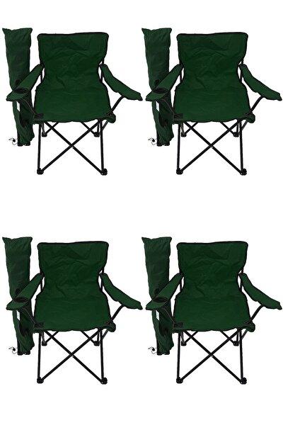 4'lü Kamp Sandalyesi Piknik Sandalyesi Katlanır Sandalye Taşıma Çantalı Kamp Sandalyesi Yeşil