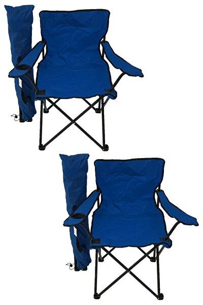 2'li Kamp Sandalyesi Piknik Sandalyesi Katlanır Sandalye Taşıma Çantalı Kamp Sandalyesi Mavi