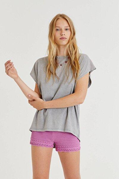 Asimetrik Kenarlı Basic T-shirt - %100 Organik Pamuklu