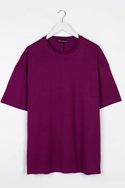 Extra Oversize Basic Mor Erkek Tshirt
