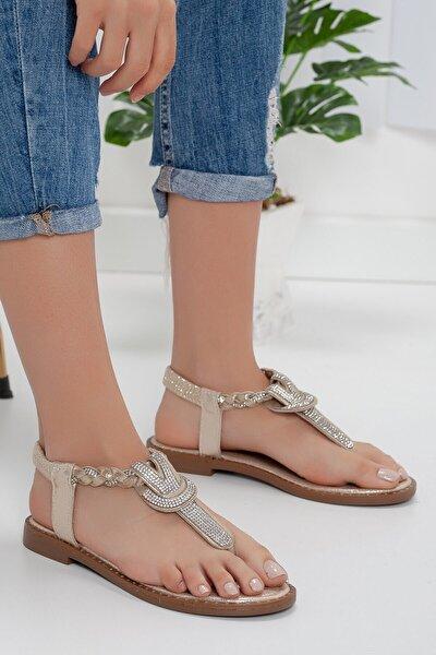 Taşlı Parmak Arası Gold Sandalet
