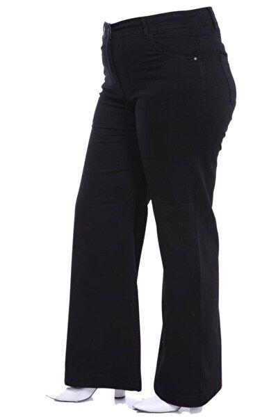 Büyük Beden Yüksek Bel Bol Paça Likralı Kot Pantolon