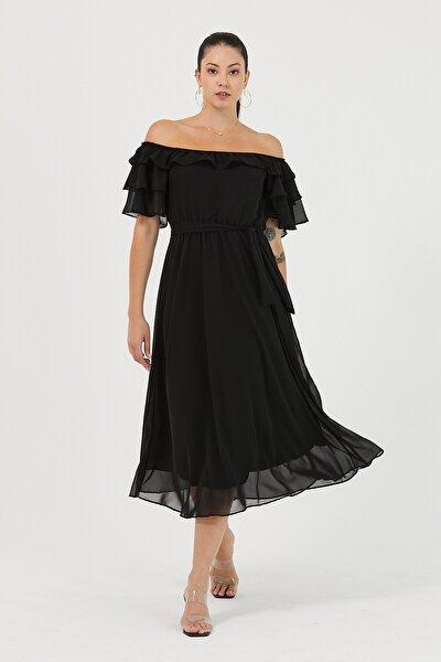 Kadın Siyah Carmen Yaka Şifon Elbise