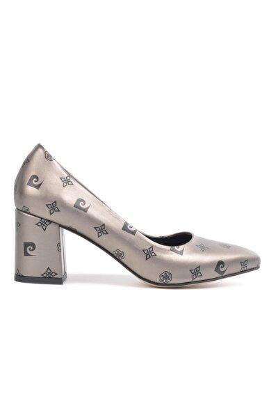 50176 Platin-siyah Kadın Kalın Topuklu Ayakkabı