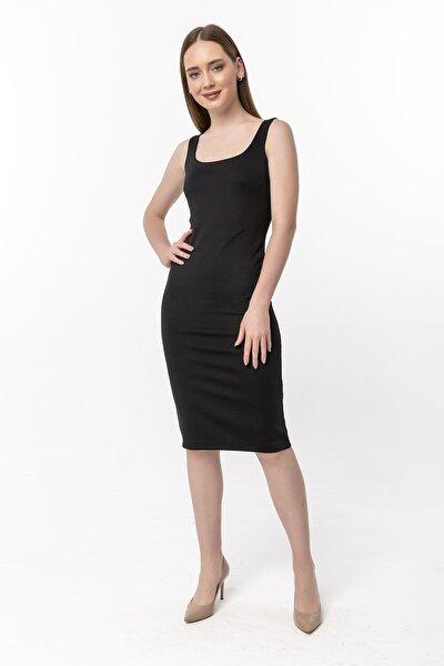 Kadın Siyah Kare Yaka Kalem Elbise 15L4246