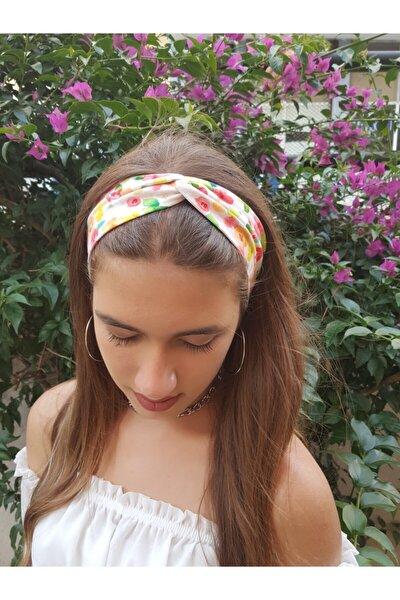 Bandana Saç Bandı Renkli Desenli Kırmızı Sarı Çiçekli