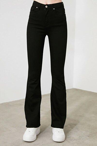 Ispanyol Paça Flare S.i.m.s.i.y.a.h Renk Solmaz Siyah Jeans (toparlayıcı)