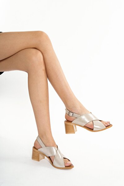 Hakiki Deri Gümüş Kadın Topuklu Deri Ayakkabı