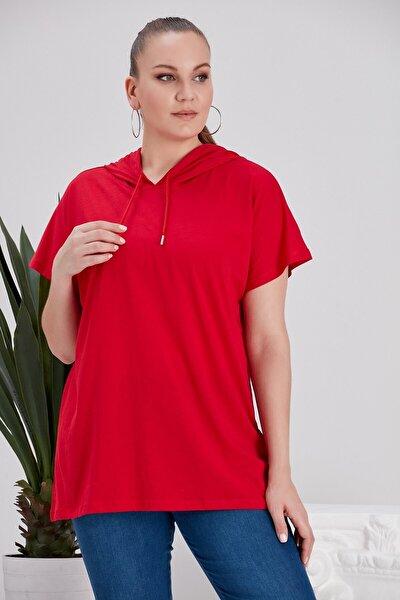 Kadın  Kapşonlu Kırmızı Büyük Beden Tişört