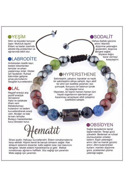 Doğal Taş Bileklik - Lal Taşı,yeşim,labrodite,hematit,obsidyen,sodalit-hypersthene