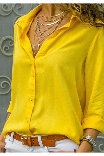 Yeni Model Kadın Sarı Basic Pamuklu Kumaş Gömlek