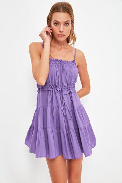 Mor Petit Bel Büzgülü Elbise TWOSS21EL4414