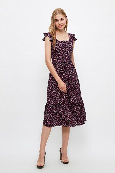 Çok Renkli Çiçek Desenli Elbise TWOSS20EL3331