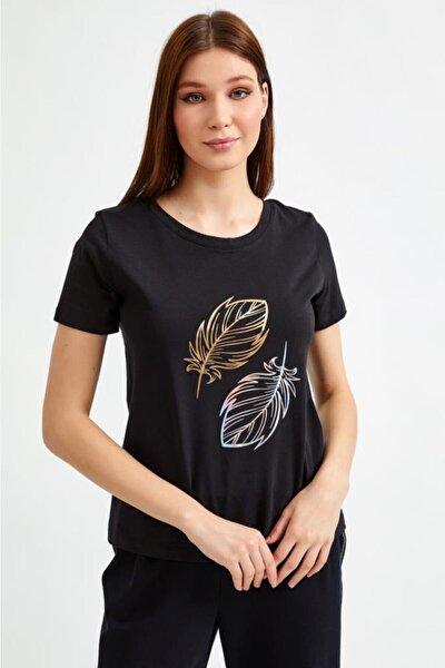 Kadın Yuvarlak Yaka Baskılı Kısa Kol T-Shirt 021-1022
