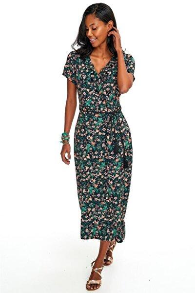 Kadın Yeşil Kısa Kol Yakası Fırfırlı Desenli Uzun Elbise