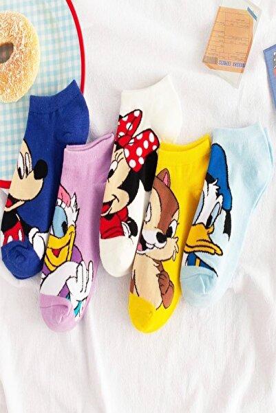 5 Çift Sevimli Karakterler Desenli Kadın Patik Çorap