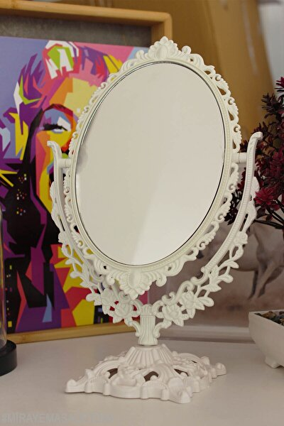Masaüstü Dekoratif Oval Makyaj Aynası Beyaz