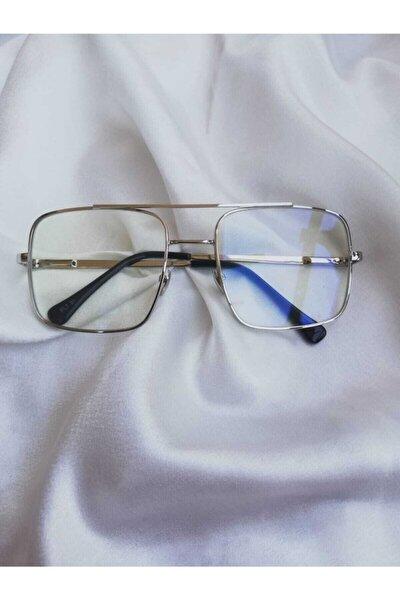 Gümüş Çerçeve Şeffaf Lens Unısex Güneş Gözlüğü