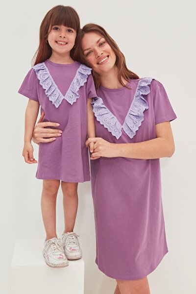 Mor Brode Detaylı Örme Elbise TWOSS20EL2819