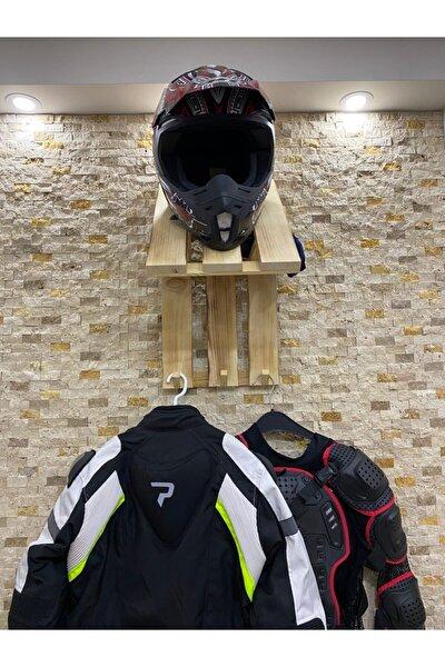 Motor Kaskı Rafı Mont Askısı Elbise Askısı Ahşap Duvar Rafı Düzenleyici Organizer