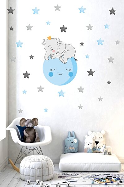 Ay Üstünde Uyuyan Sevimli Fil Ve Yıldızlar Çocuk Odası Duvar Sticker