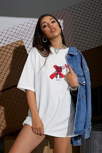 Kadın Beyaz Osaka Dragon Japonca Baskılı Oversize Salaş T-shirt
