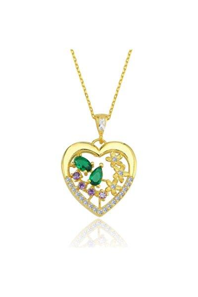 Kalp Form Saray Bahçesi Gold Renk Gümüş Kolye