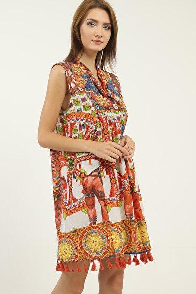 Kadın Turuncu Boncuk Işlemeli Kolsuz Mini Elbise