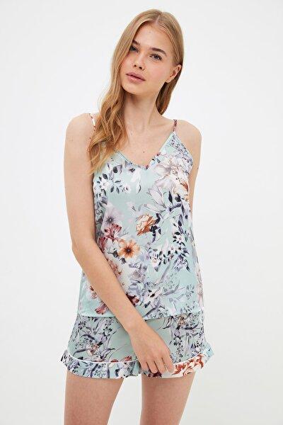 Açık Yeşil Çiçek Desenli Saten Pijama Takımı THMSS21PT1340