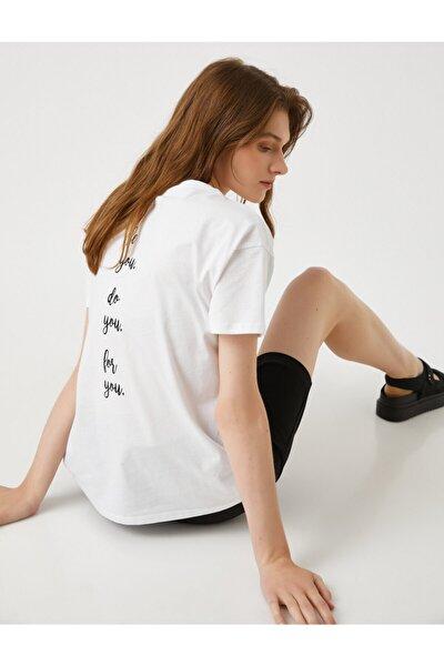 Kadın Sloganlı Tişört Pamuklu