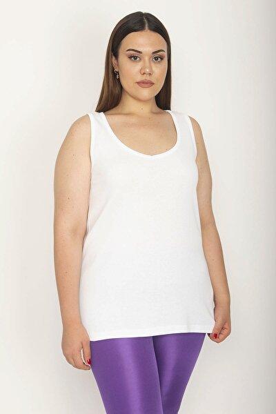 Kadın Beyaz Pamuklu Kumaş Kolsuz Bluz 65N26628