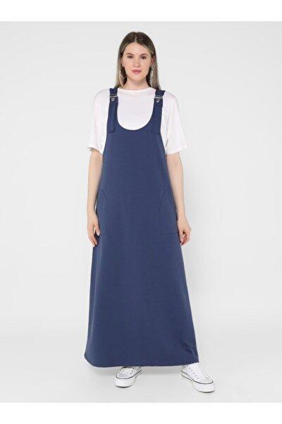Büyük Beden Askılı Spor Salopet Elbise - Indigo -