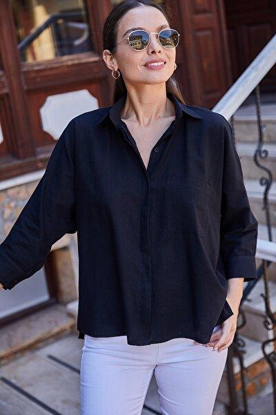 Kadın Siyah Cepli Salaş Keten Gömlek ARM-21Y001035