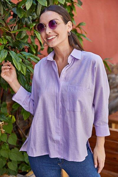 Kadın Lila Cepli Salaş Keten Gömlek ARM-21Y001035