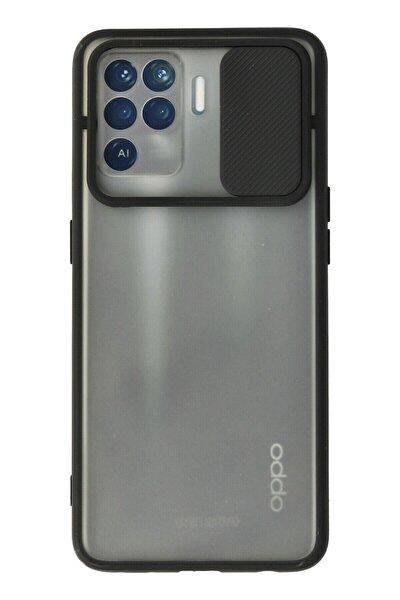 Reno 5 Lite Kılıf Palm Buzlu Kamera Sürgülü Silikon - Siyah
