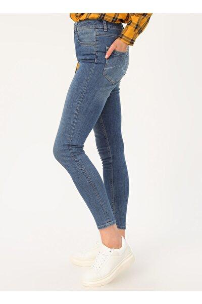 Kadın Mavi Yüksek Bel Denim Pantolon