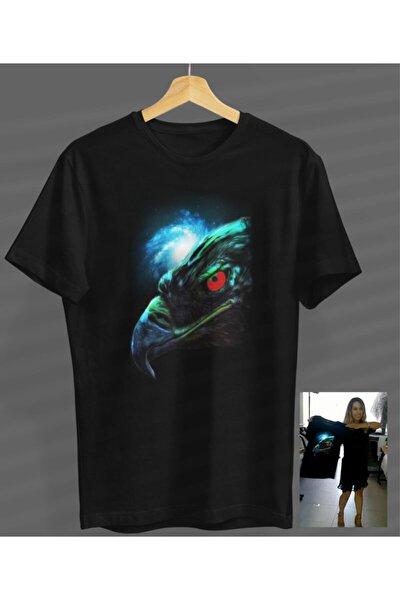 Unisex Kadın-erkek Kartal Tasarım Siyah Yuvarlak Yaka T-shirt