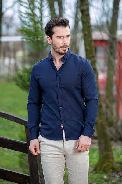 Erkek Lacivert Slim Fit Basic Gömlek N6033