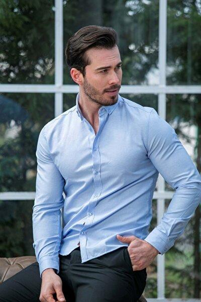 Erkek Mavi Slim Fit Basic Gömlek N6033