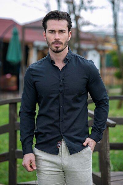 Erkek Siyah Slim Fit Basic Gömlek N6033