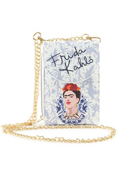 Kadın Frida Kahlo Telefonluk Çanta Cüzdan Lila 18 X 11 cm