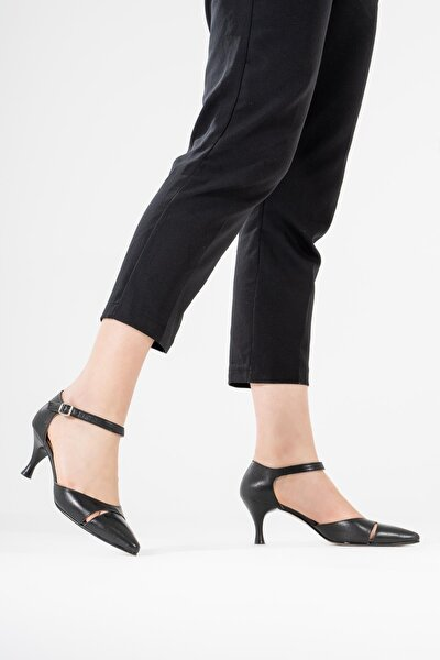 Hakiki Deri Kadın Sandalet Arkası Kapalı Ince Topuklu Ayakkabı