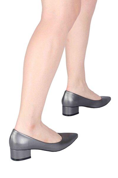 Kalın Kısa Topuklu Antrasit Gri Stiletto Ayakkabı - Beew