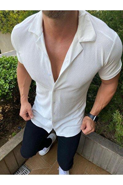 Erkek Beyaz Desenli Pamuklu Yazlık Kısa Kollu Gömlek